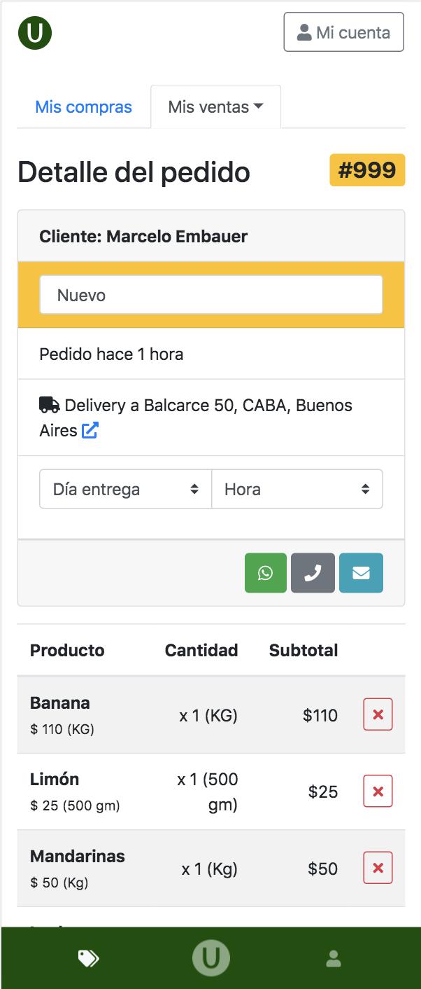 Captura de cómo se ve un pedido en Uverde